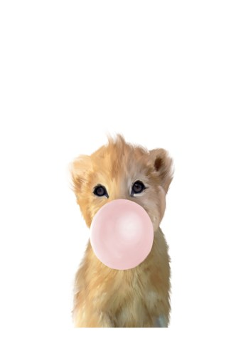 Baby Lion Bubble Gum art print by Leah Straatsma for $22.50 CAD