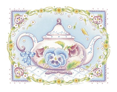 Pansy Teapot art print by Joanne Cannon for $7.50 CAD