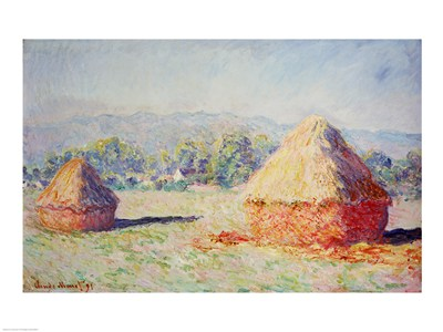 Haystacks in the Sun, Morning Effect, 1891 art print by Claude Monet for $32.50 CAD