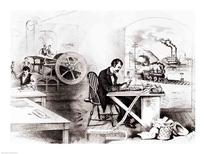 The Progress of the Century: The Lightning Steam Press, the Electric Telegraph, the Locomotive and the Steamboat art print by Unknown for $32.50 CAD