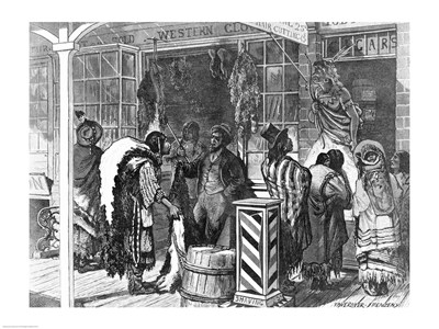 Indians Trading at a Frontier Town art print by Unknown for $32.50 CAD