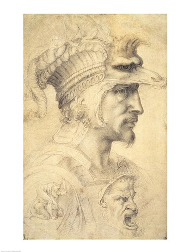 Ideal head of a warrior art print by Michelangelo Buonarroti for $32.50 CAD