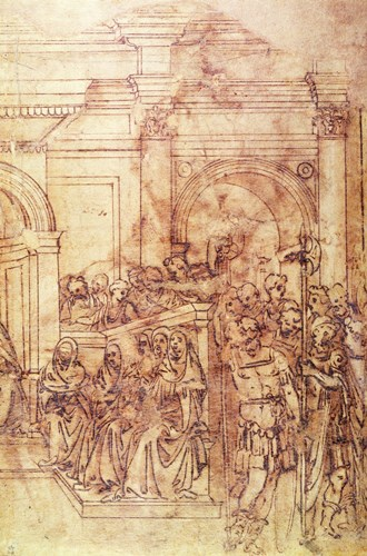W.29 Sketch of a crowd for a classical scene art print by Michelangelo Buonarroti for $36.25 CAD