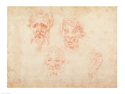 W.33 Sketches of satyrs' faces art print by Michelangelo Buonarroti for $32.50 CAD