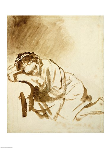 A Young Woman Sleeping art print by Rembrandt van Rijn for $30.00 CAD