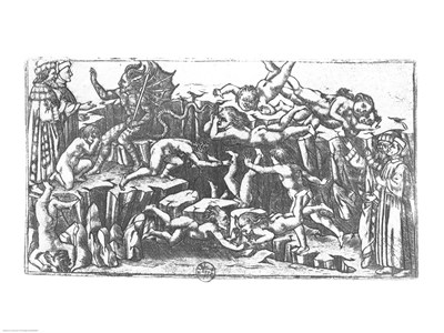 Hell, from 'The Divine Comedy' by Dante Alighieri (1265-1321) art print by Sandro Botticelli for $30.00 CAD