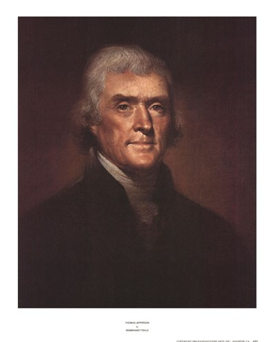 Thomas Jefferson art print by Rembrandt Peale for $27.50 CAD