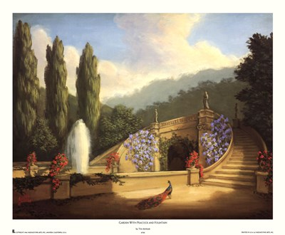 Garden with Peacock and Fountain art print by Tim Ashkar for $31.25 CAD