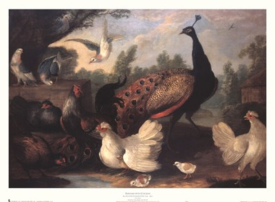 Barnyard with Chickens art print by Melchior D'hondecoeter for $36.25 CAD