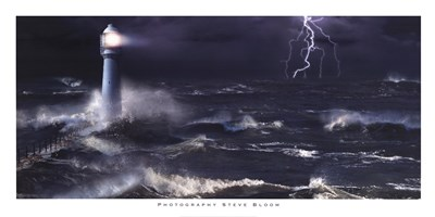Lightning at the Lighthouse art print by Steve Bloom for $41.25 CAD