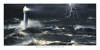Lightning at the Lighthouse art print by Steve Bloom for $60.00 CAD