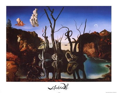 Swans Reflecting Elephants, c.1937 art print by Salvador Dali for $22.50 CAD