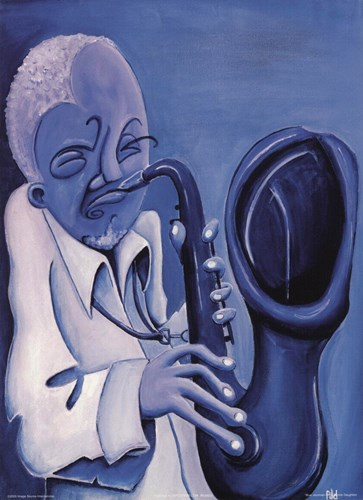 Blue Jazzman II art print by Patrick Daughton for $8.75 CAD