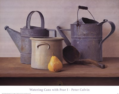 Watering Cans with Pear I art print by Peter Colvin for $37.50 CAD