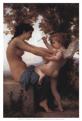 Girl Defending Herself Against Love art print by William Adolphe Bouguereau for $20.00 CAD