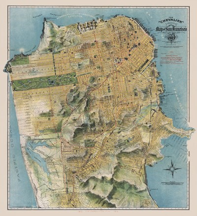 Map of San Francisco, California, 1912 art print by August Chevalier for $46.25 CAD