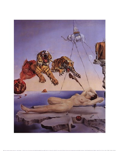 String Caused by the Flight of a Bee Around a Pomegranate, A Second Before Awakening, c.1944 art print by Salvador Dali for $15.00 CAD