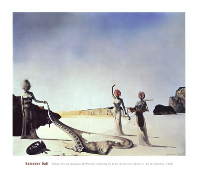 Three Young Surrealist Women Holding in their Arms the Skins of an Orchestra, c.1936 art print by Salvador Dali for $37.50 CAD