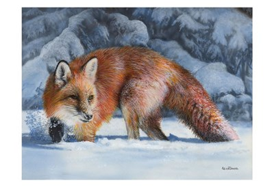 Fox at the Pines art print by Kevin Daniel for $20.00 CAD
