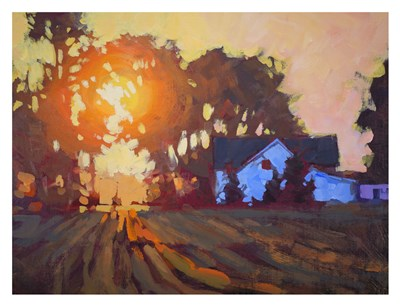 Sunrise Over Farmhouse art print by Jed Dorsey for $60.00 CAD