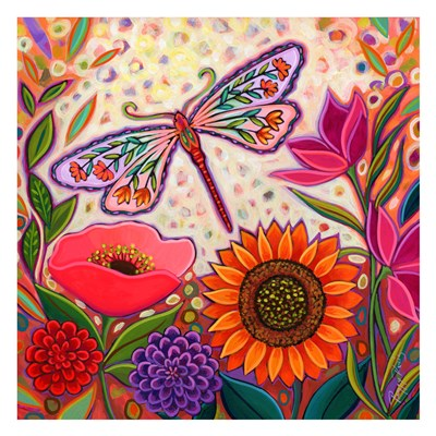 Dragonfly Floral art print by Peggy Davis for $60.00 CAD