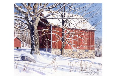 Red Barn in Winter art print by Stan Myers for $20.00 CAD