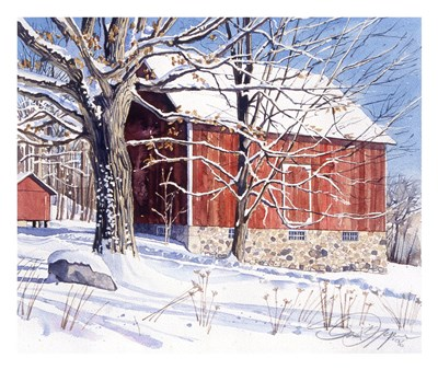 Red Barn in Winter art print by Stan Myers for $60.00 CAD