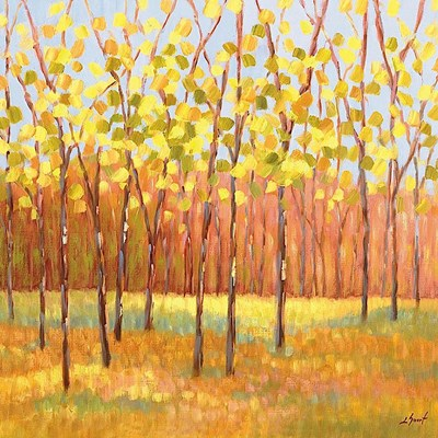 Yellow and Green Trees (center) art print by Libby Smart for $20.00 CAD