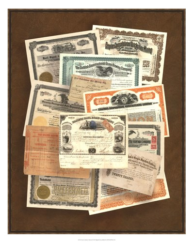 Stock Certificate Collection art print by Vision Studio for $112.50 CAD