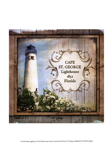 Florida Lighthouse X art print by Beth Anne Creative for $13.75 CAD