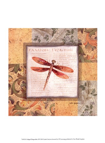 Collaged Dragonflies II art print by Linda Grayson for $13.75 CAD