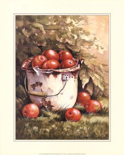 Pail of Apples art print by Peggy Thatch Sibley for $18.75 CAD