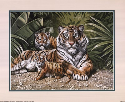 Yellow Tiger With Cubs art print by Gary Ampel for $18.75 CAD