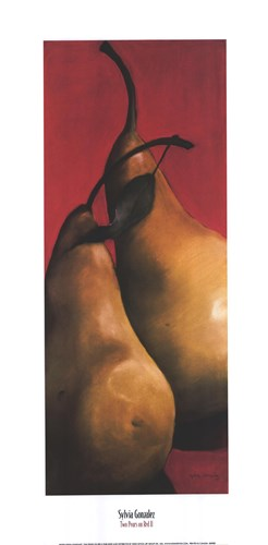 Two Pears on Red II art print by Sylvia Gonzalez for $27.50 CAD