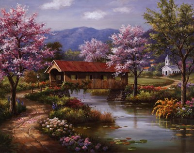 Covered Bridge in Spring art print by Sung Kim for $52.50 CAD