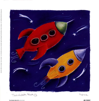 Two Rockets Blast Off art print by Dona Turner for $17.50 CAD