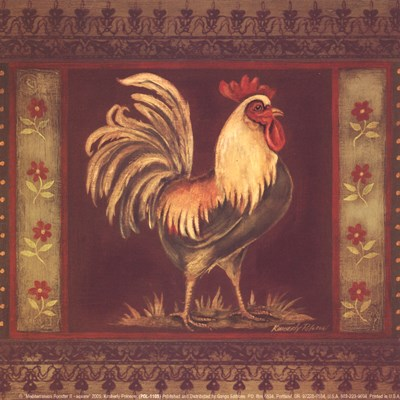 Mediterranean Rooster II - Square art print by Kimberly Poloson for $10.00 CAD