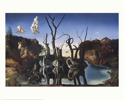 Swans Reflecting Elephants, c.1937 art print by Salvador Dali for $17.50 CAD