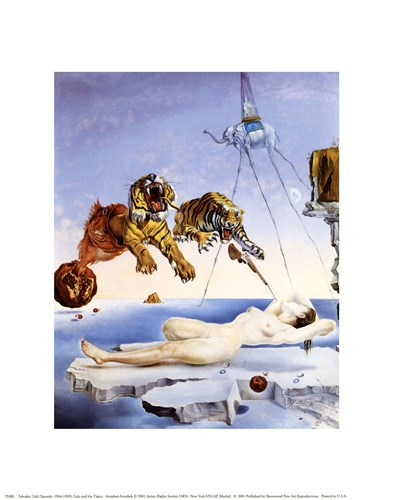 Dream Caused by the Flight of a Bee Around a Pomegranate, A Second Before Awakening, c.1944 art print by Salvador Dali for $8.75 CAD