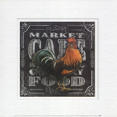 Chalkboard Rooster Cafe art print by Geoff Allen for $18.75 CAD