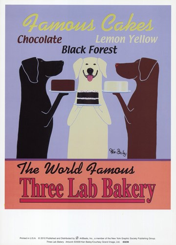 Three Lab Bakery art print by Ken Bailey for $15.00 CAD