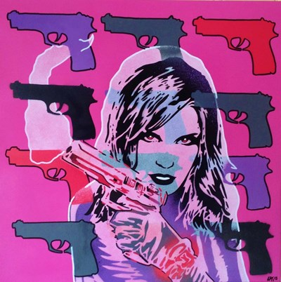 Revolver Pinks art print by Abstract Graffiti for $35.00 CAD