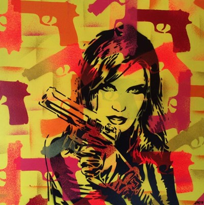 Revolver Yellows art print by Abstract Graffiti for $35.00 CAD