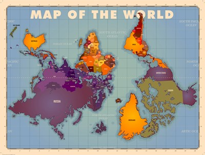 Upside Down Map of the World art print by American Flat for $98.75 CAD