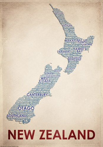 New Zealand art print by American Flat for $38.75 CAD