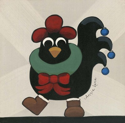Merry Clucking Christmas art print by Annie Lane for $35.00 CAD