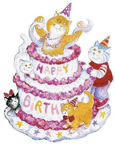 Birthday Cats art print by Bill Bell for $40.00 CAD