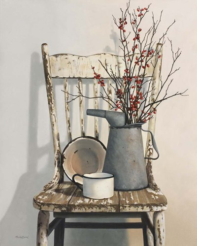 Watering Can On Chair art print by Cecile Baird for $65.00 CAD