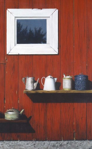 Red Barn Antiques art print by Cecile Baird for $75.00 CAD