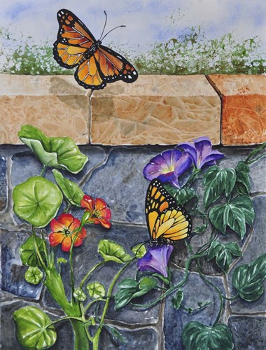 Monarchs, Nasturtiums and Morning Glories art print by Charlsie Kelly for $32.50 CAD